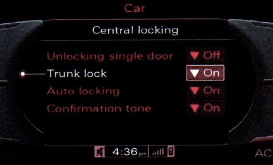 Trunk lock option in 3G MMI