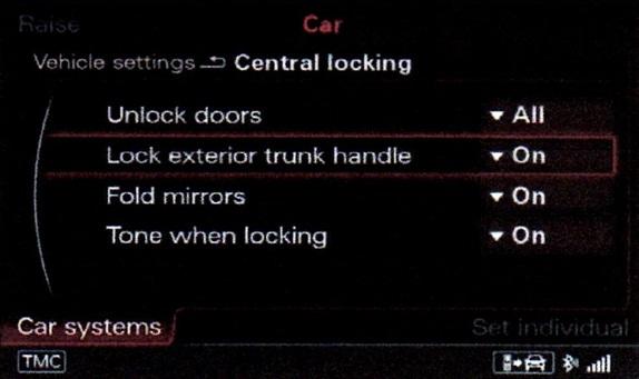 Trunk lock option in 3G MMI+.