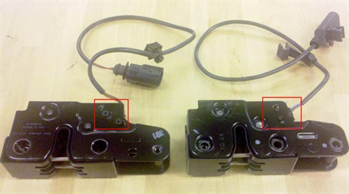 Figure 3. The mounting locations for the contact switches are different and are not cross-compatible.