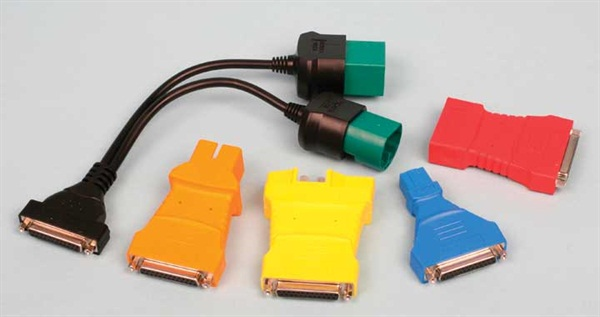 OBD1 adapters include (from left to right) a dual-head DLC1/DLC2 Toyota harness, Jeep (orange), Ford (yellow), Honda (blue) and GM (red) adapters.