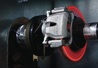 Brake rotor temperatures can rise to extreme levels during braking. The example shown here depicts extreme rotor heat testing at Advics' testing facility. During extreme braking conditions, rotors can experience upwards of 1,200 to 1,400 degrees F.