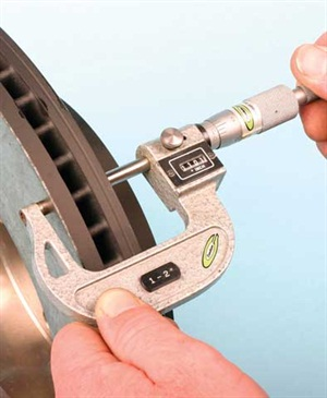 For a thickness check, measure rotor disc thickness approximately 1/2-inch or so from the outer edge of the disc.