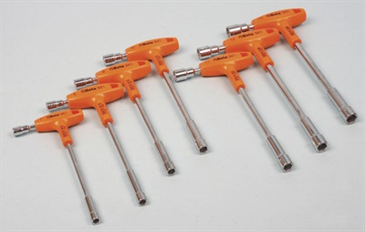 The Beta T-handle socket driver set includes a range of sizes from 7 mm to 13 mm.