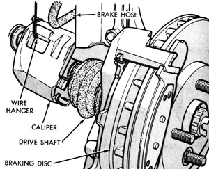 After removing the caliper, support it with a wire. Do not allow it to hang by its brake hose.