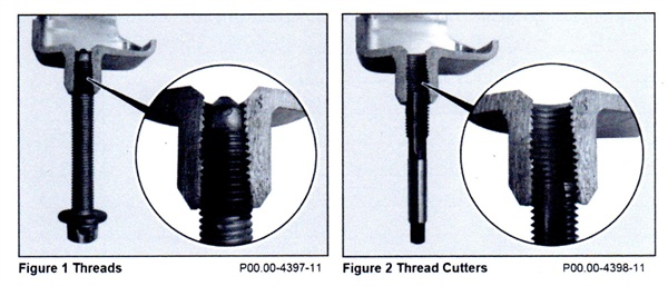 Whenever servicing self-locking bolt connection on axle mounts, run a cleaning tap through the female threads and blow out with compressed air before installing the new bolt(s).