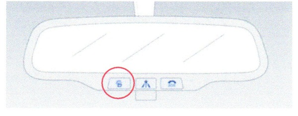 he BlueLink button is located on the lower edge of the rearview mirror.