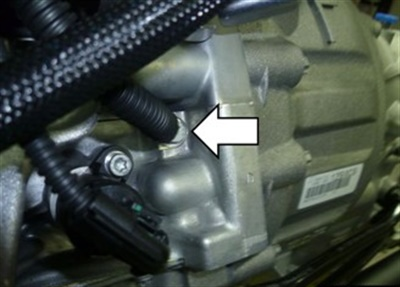 Note the location of the potentially loose ground connection on the engine block near the starter.
