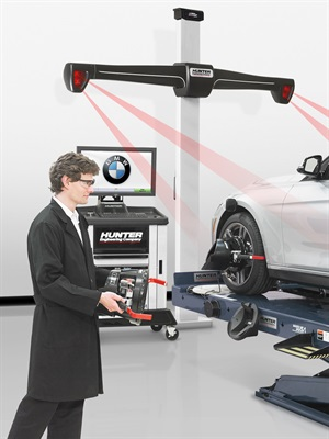 BMW has approved Hunter's HawkEye Elite alignment system and QuickGrip adaptors for use in its 339 workshops.
