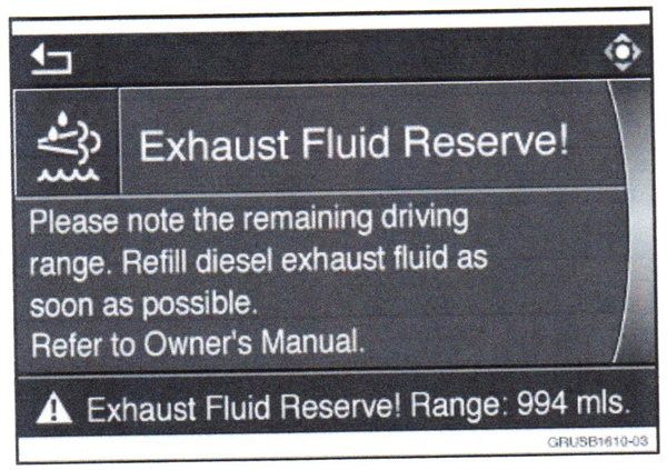"""When the """"Exhaust Fluid Reserve"""" warning activates, the vehicle may be  driven another 999 miles or less until a no-start condition is enacted."""