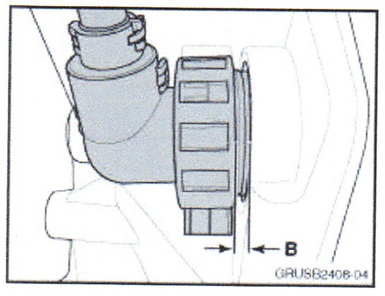 The correct distance between the transmission harness connector and the housing surface (B) should not exceed 3 mm.