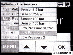 Select the Low Pressure 1 setting from the multimeter menu of the IMIB.