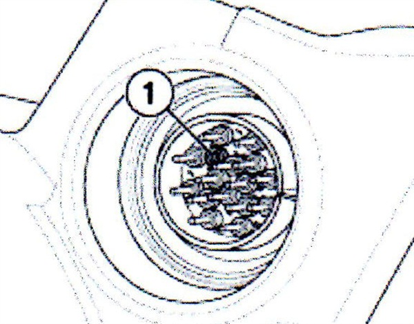 This illustration shows an example of a broken and missing pin #4 in the X8500, caused by improper sleeve installation.