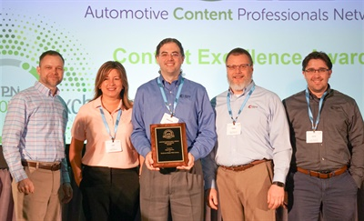 (Left to right): Luke Smith, ACPN chairman, Momentum USA Inc. and the BPI catalog team: Lee Rico; Krister Kittelson; Paul Gurns and Zack Rasmussen at the awards ceremony.