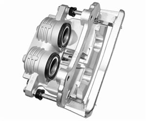 The OEMs are increasingly using multi-piston calipers, with some made of aluminum to reduce un-sprung weight. Since aluminum calipers are prone to corrosion, replacements without the need for core returns will likely be common. (Courtesy of Brake Parts Inc)