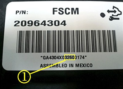 In the example shown here, note the highlighted number. The numeral 3 indicates that the vehicle was produced in 2013. The 260 seen here is the sequential day of the year. The affected population is dated 115 to 228, parts dates outside of this range should be considered good.
