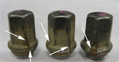 Using a too-shallow socket can easily crack the stainless steel cap on wheel nuts. Always use a socket deep enough to capture the entire surface area of the hex.