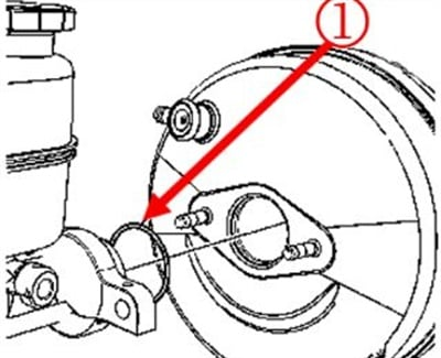 Inspect for a missing or damaged O-ring between the master cylinder and booster.