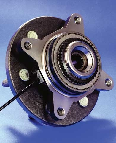 his bearing, wheel speed sensor and hub assembly is typical of the current trend. Exercise care when removing a half-shaft to avoid sensor damage. Photo courtesy of Wells Mfg.