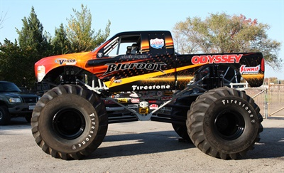The Odyssey battery logo can be seen on all of the Bigfoot monster trucks.
