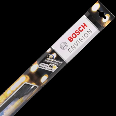 Bosch says its new Envision wiper blades feature an asymmetrical spoiler with NightBlack technology that repels water droplets and minimizes ice buildup for all-weather wiping performance.