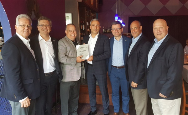 Nexus North America named Bosch its supplier partner of the year. The award was presented at the organization's Connecting Days event (l to r): Gary Martin, Automotive Parts Associates; Philippe Guyot, Nexus Automotive International SA; David Prater, The Automotive Distribution Network; Enrico Manuele, regional president aftermarket North America at Robert Bosch LLC; Gael Escribe, Nexus Automotive International; Tim Bruin, vice president traditional aftermarket sales at Bosch; and Chris Baer, Vipar Heavy Duty.