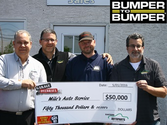 From left to right are Tom Bock, sales representative for Eastern;, Gary Moldovan, regional sales manager for Eastern; Fred White, Miles Auto Service owner/operator; and Bob D'Errico, zone manager for Eastern.