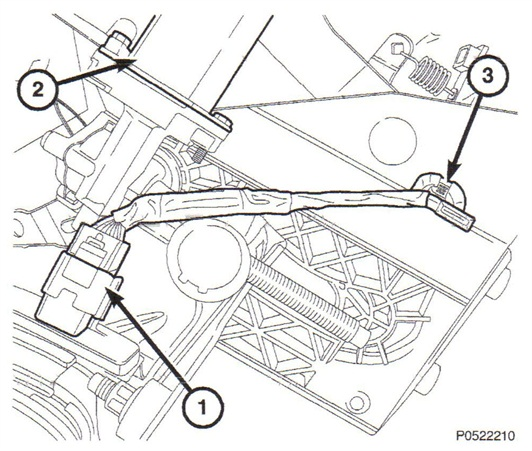 Note the locations of the APP sensor (1), adjustable pedal motor (2) and the wire harness clip (3).