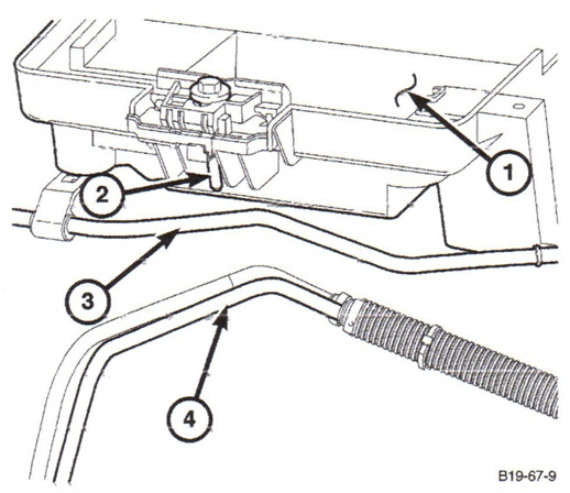 Be careful to avoid allowing the replacement hose to rub on the battery tray bolt.