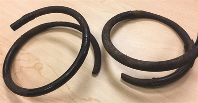 Check coil spring condition, looking for severe corrosion, cracks and breakage. This may be more common with lighter vehicles that feature smaller gauge coil wire, which is more prone to corrosion failure at the bottom of the spring where it sits in the lower spring pocket where water and salt collects.
