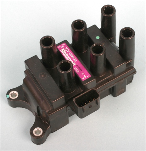 Coil packs such as this Ford unit use double-ended coils. This means that one plug will fire negatively and the other positively. This affects where the platinum disc needs to be on the spark plug.