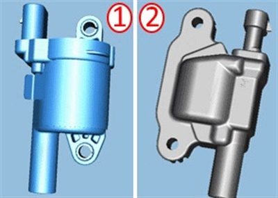 The ignition coil at the left is made by Delphi. The coil at right is made by Melco. They function the same, but feature different appearance.