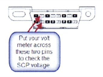 Place your voltmeter across these two pins to check SCP voltage.