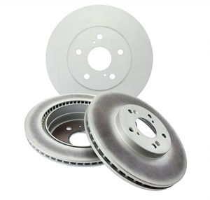 Example of Centric GCX rotors, which feature a Geomet RS200 anti-corrosion coating involving a zinc and aluminum-rich resin to all non-friction surfaces of the rotor. (Courtesy of Centric)