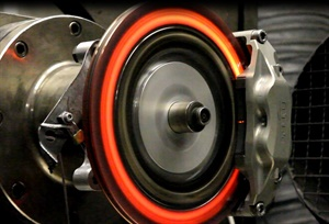 Brake pad and rotor interface testing is performed at a variety of operating temperature and pressure, in part to evaluate pad compounds and resins. (Courtesy of Centric)