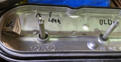 Example of potential leak area in the valve cover.