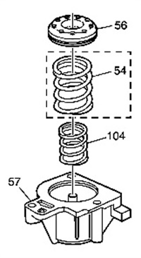 Note locations of inner spring (104) and outer spring (54).