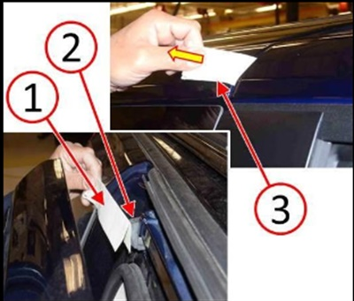 With a piece of paper at the front of the rubber bumper. Make sure the paper is not trapped between the door and door seal, and pull the paper out to check tension/resistance.