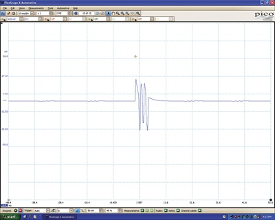 This primary waveform shows a Ford multi-strike ignition coil firing three times in about 5 milliseconds at idle. By about 1,500 rpm, the PCM reverts to normal single-strike operation. Photo courtesy of Junius/Pico Scope.