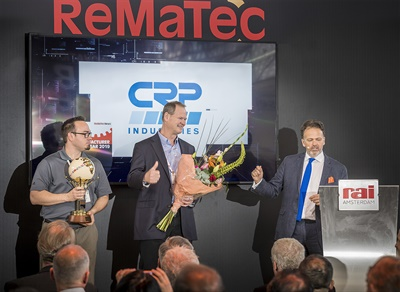 Left to right) Jack Bordeau and Scott Shea of CRP Industries at the 2019 Best Reman Business Innovation Award presentation with Adam Hill of ReMaTec.