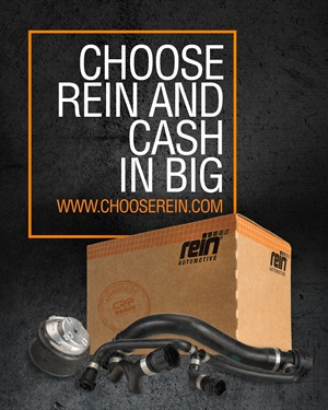 """CRP Automotive's new promotion, called """"Choose Rein and Cash In Big,"""" rewards technicians who collect and redeem UPC codes from the purchase of Rein Automotive replacement parts."""