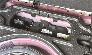 Figure 3:The 2017 and 2018 Chevy Cruze battery is located in the trunk, with access via the trunk or by removing the rear seat.