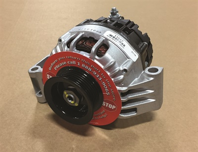 """In order to prevent technicians from returning good starters and alternators, MPA attaches prominent red """"Call Before You Return"""" tags on its Pure-Energy and Quality-Built units (alternator shown) that have to be removed before installation can proceed."""