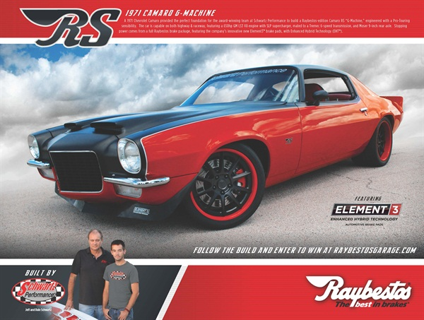 """A custom-built 1971 Chevrolet Camaro RS """"G-Machine"""" is the grand prize in the Raybestos brakes brand sweepstakes."""