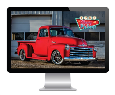 You can customize your personal computer with a rendering of the restored Raybestos 1953 Chevy pickup.