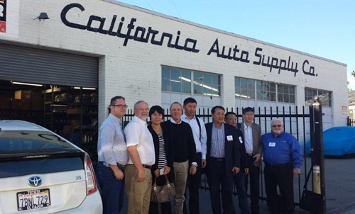 Charter members from China visit California Auto Supply store of Hanson Distributing Co. in Pomona, CA (from left): Dan Hanson Jr., senior vice President and director of store operations for Hanson; Dan Hanson Sr., CEO and president of Hansen; Xue Lili, vice general manager, ZCParts, Shandong; Steven Ganster, managing director, Technomicasia; Wu Yujun, president; Zhongkai Zhixing Trading Co.; Shang Baohe, president, Carzone, Jiangsu; Zhang Hanlin, general manager and president, Shanghai Shuanglin; Zhang Xiwen, general manager, Shanghai Jiapei/chairman-CAAPA; and John Washbish, CEO and president, Aftermarket Auto Parts Alliance.