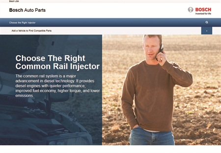 Bosch has created a website for customers and technicians select replacement injectors for diesel engines.