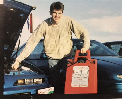 Clore Automoitve is celebrating the 25th anniversary of its Booster PAC and Jump-N-Carry brands. This photo is from the 1990s.
