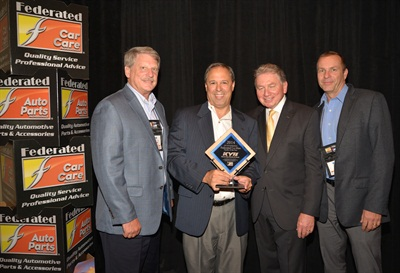 Federated Auto Parts recently honored vendors for overall excellence. Pictured are (left to right): Kim Tingley, regional manager/program group manager, KYB; Mike Fiorito, vice president, KYB; Roy Kent, chief strategy officer and president, new business development, Federated Auto Parts; Paul Kratzer, national sales manager, KYB.