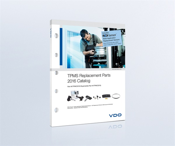 The 2016 VDO TPMS Replacement Parts Program catalog features an updated list of applications for VDO sensors.