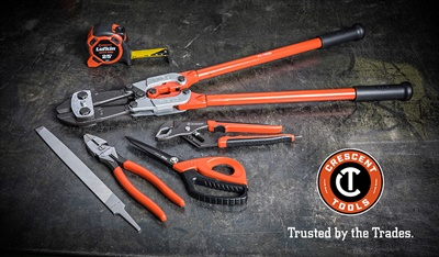 The Crescent brand product lineup will include tape measures, bolt cutters, scissors, files, and many other tools from the five brands that have become part of the expanded Crescent tools offering.